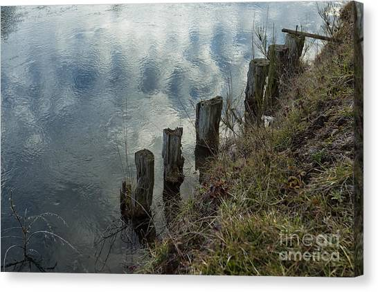 Canvas Print featuring the photograph Old Dock Supports Along The Canal Bank - No 1 by Belinda Greb