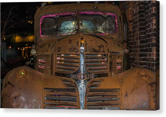 Old Dodge Truck In  Neon Canvas Print
