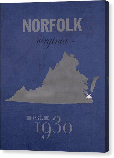 Conference Usa Canvas Print - Old Dominion University Monarchs Norfolk Virginia College Town State Map Poster Series No 085 by Design Turnpike