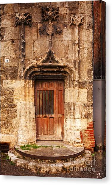 Old Wooden Door Canvas Print - Old Doorway Cahors France by Colin and Linda McKie