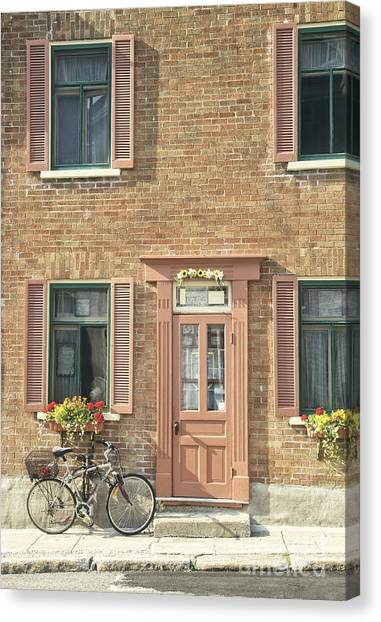 Quebec Canvas Print - Old Downtown Building Doorway And Bike On Street by Edward Fielding