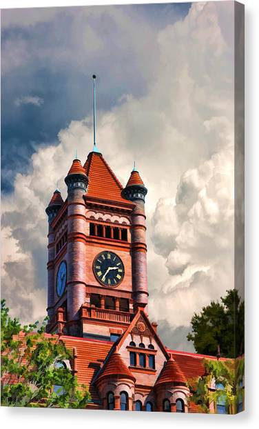 Romanesque Art Canvas Print - Old Dupage County Courthouse Clouds by Christopher Arndt