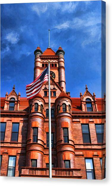Romanesque Art Canvas Print - Old Dupage County Courthouse Flag by Christopher Arndt