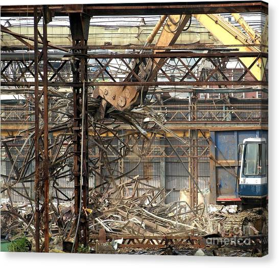 Backhoes Canvas Print - Old Factory Is Being Demolished by Yali Shi