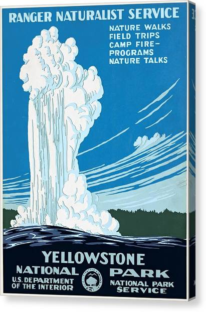 Old Faithful Yellowstone National Park Poster Ca 1938 Canvas Print