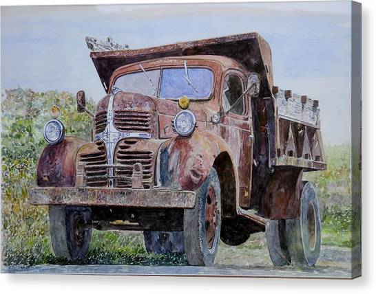 Dump Trucks Canvas Print - Old Farm Truck by Anthony Butera
