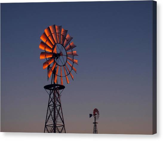 Wind Farms Canvas Print - Old Fashioned Wind Mill by Don Spenner