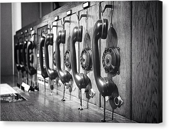 Old-fashioned Wooden Telephone Canvas Print by Anja Heid / Eyeem