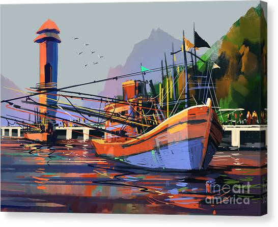 Harbor Canvas Print - Old Fishing Boat In The Harbor,digital by Tithi Luadthong