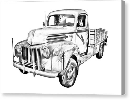Classic Car Drawings Canvas Print - Old Flat Bed Ford Work Truck Illustration by Keith Webber Jr