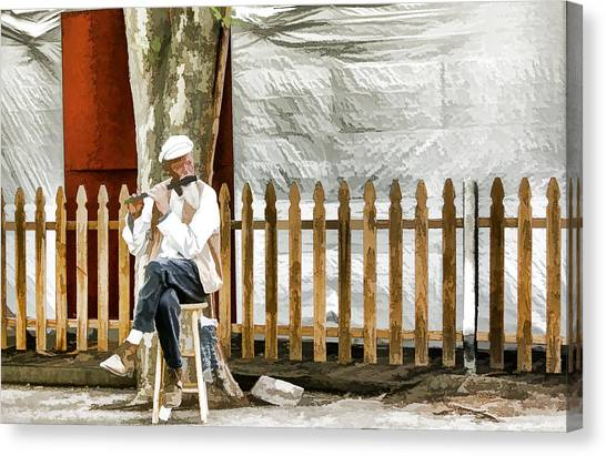 Old Flute Player Canvas Print