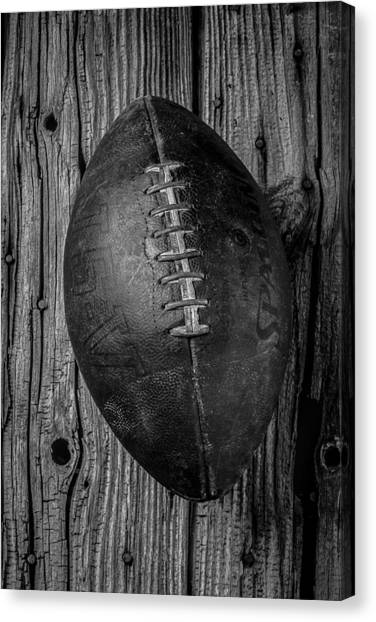 Black And White Art Canvas Print - Old Football by Garry Gay