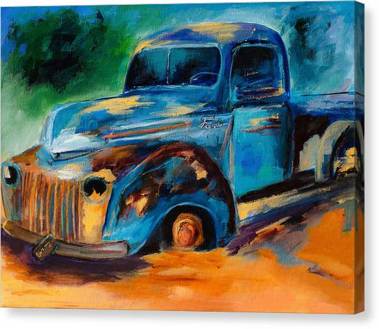 Ford Truck Canvas Print - Old Ford In The Back Of The Field by Elise Palmigiani