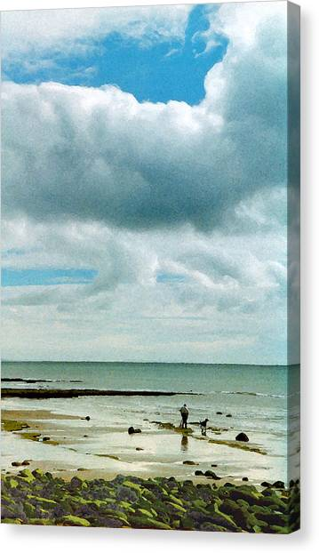 Old Friends Share A Beach Canvas Print