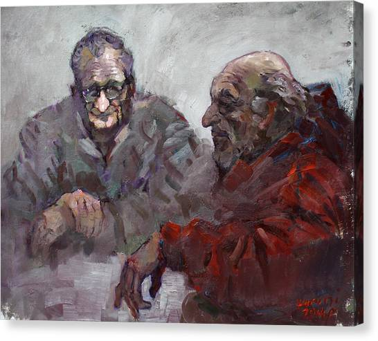 Old Man Canvas Print - Old Friends by Ylli Haruni