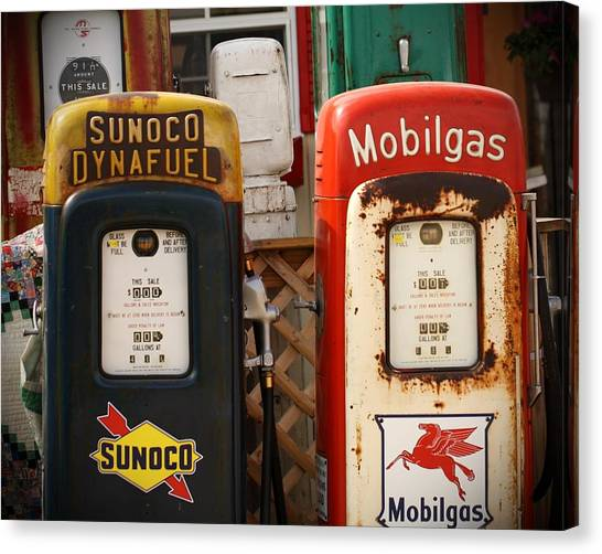 Old Fuel Pumps Canvas Print