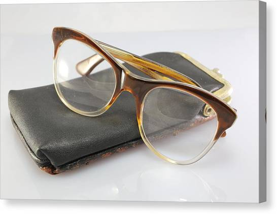 Health Care Canvas Print - Old Glasses Of An Old Man With Leather Case by Fed Cand