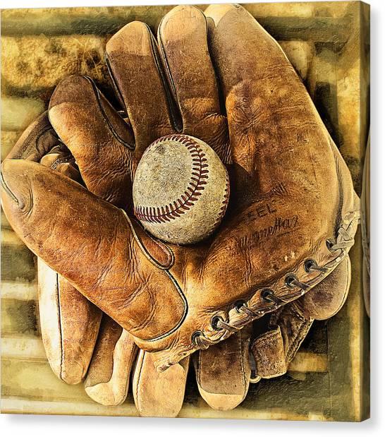 Hardball Canvas Print - Old Gloves by Ron Regalado