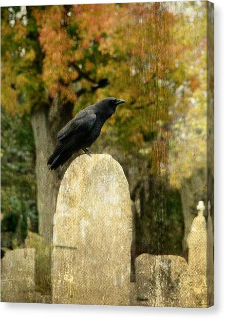 Ravens In Graveyard Canvas Print - Old Graveyard And Crow by Gothicrow Images