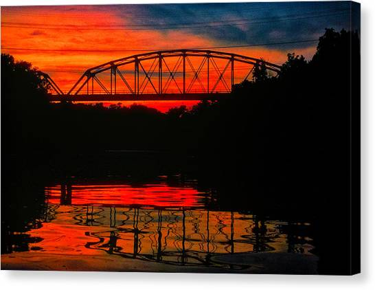 Old Gravois Bridge Silhoutte Canvas Print