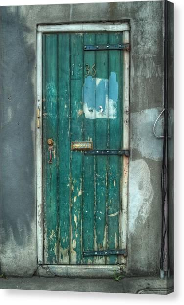 Old Green Door In Quarter Canvas Print by Brenda Bryant