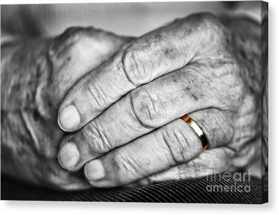 Black Widow Canvas Print - Old Hands With Wedding Band by Elena Elisseeva