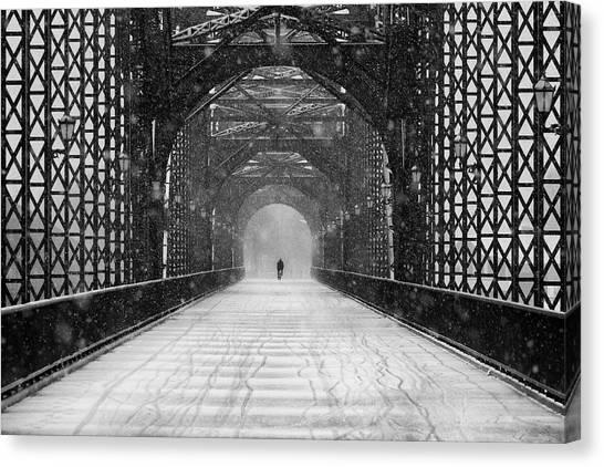 Old Harburg Bridge In Snow Canvas Print by Alexander Sch?nberg