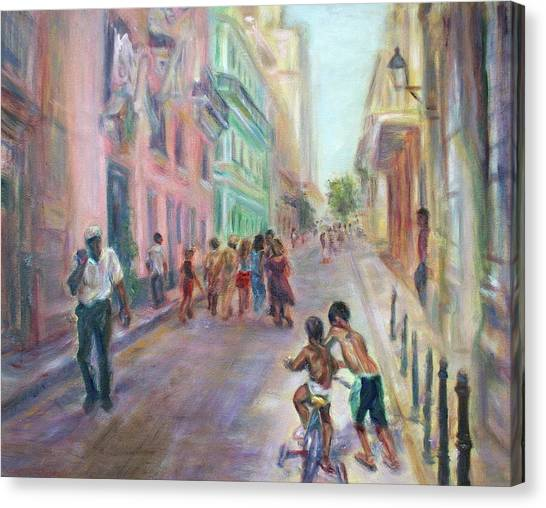 Old Havana Street Life - Sale - Large Scenic Cityscape Painting Canvas Print