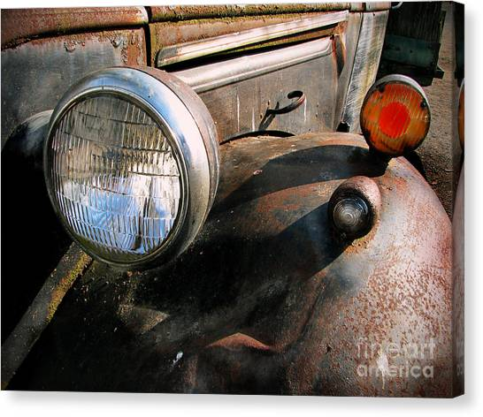 Dump Trucks Canvas Print - Old Headlights by Colleen Kammerer