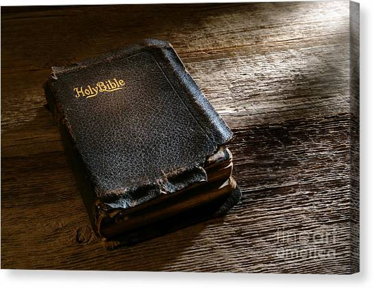 Holy Bible Canvas Print - Old Holy Bible by Olivier Le Queinec