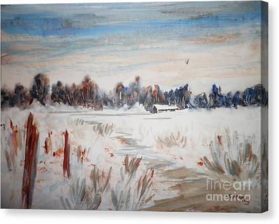 Old Homestead In Winter Canvas Print