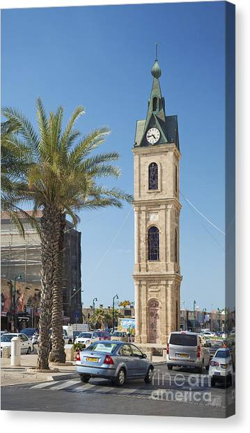 Old Jaffa Clocktower In Tel Aviv Israel Canvas Print