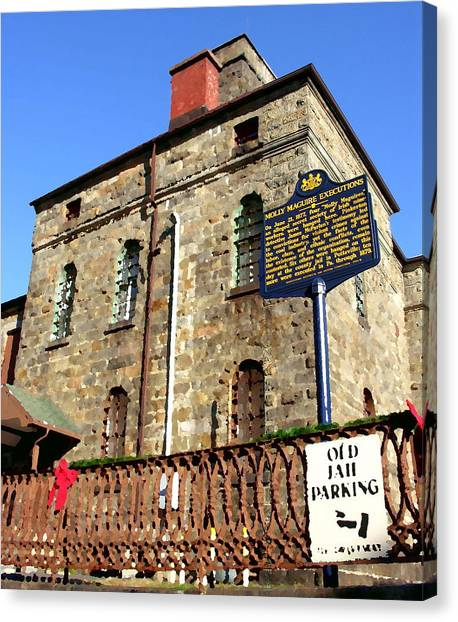 Old Jail In Jim Thorpe Pa Canvas Print by Jacqueline M Lewis