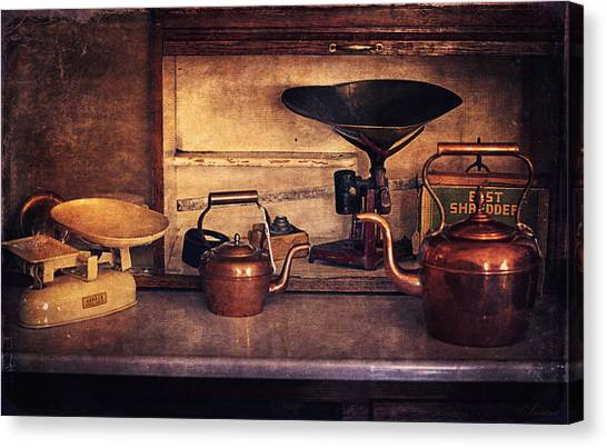 Teakettles Canvas Print - Old Kitchen Utensils by Maria Angelica Maira