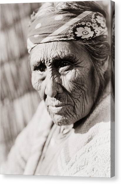 Worried Canvas Print - Old Klamath Woman Circa 1923 by Aged Pixel