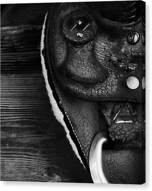 Old Leather - Vintage Saddle In Black And White Canvas Print