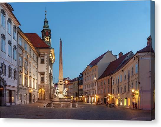 Ljubljana Canvas Print - Old Ljubljana By Night by Buena Vista Images