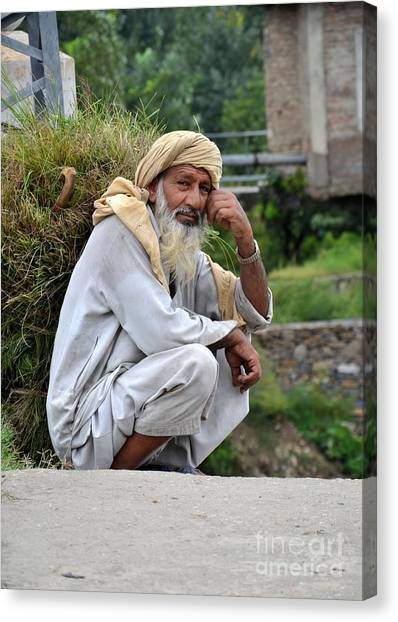 Old Man Carrying Fodder Swat Valley Kpk Pakistan Canvas Print