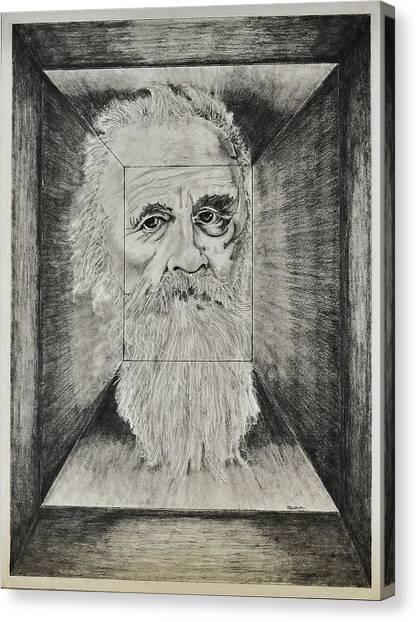 Old Man Head In Box Canvas Print by Glenn Calloway