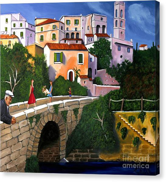 Old Man On Bridge Canvas Print