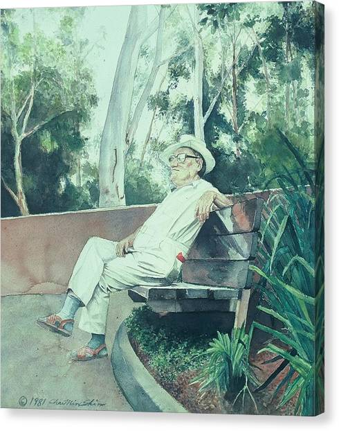 Canvas Print - Old Man On The Bench by Chae Min Shim