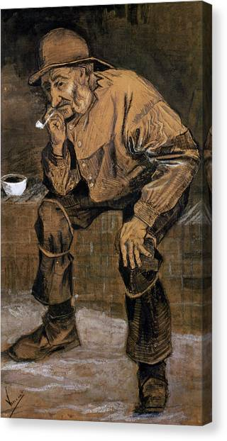 Signature Canvas Print - Old Man With A Pipe, 1883 by Vincent van Gogh