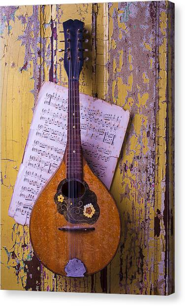 Mandolins Canvas Print - Old Mandolin With Sheet Music by Garry Gay