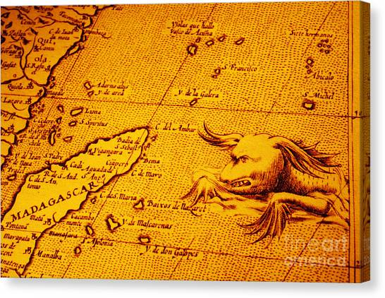 Old Map Of Africa Madagascar With Sea Monster Canvas Print