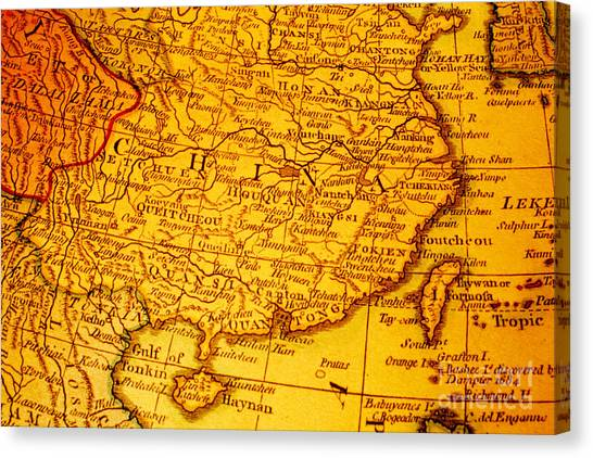 China Canvas Print - Old Map Of China And Taiwan by Colin and Linda McKie