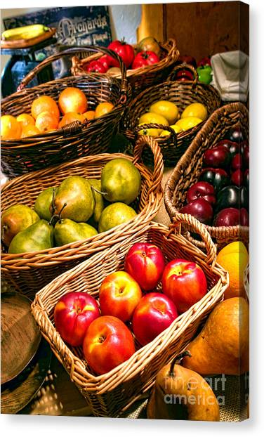 Produce Stands Canvas Print - Old Market by Olivier Le Queinec