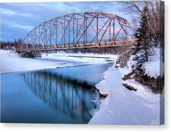 Winter Scenery Canvas Print - Old Matanuska River Bridge Near Palmer by Lucas Payne