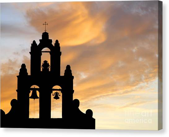Old Mission Bells Against A Sunset Sky Canvas Print