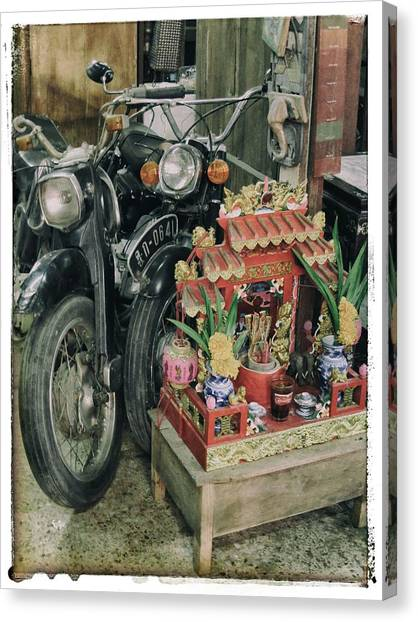 Old Motorcycles East Of Bangkok Canvas Print by River Engel