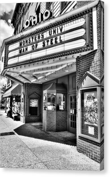 Old Movie Theater Bw Canvas Print by Mel Steinhauer